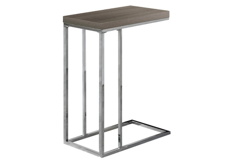 ACCENT TABLE - DARK TAUPE WITH CHROME METAL   MN-3253