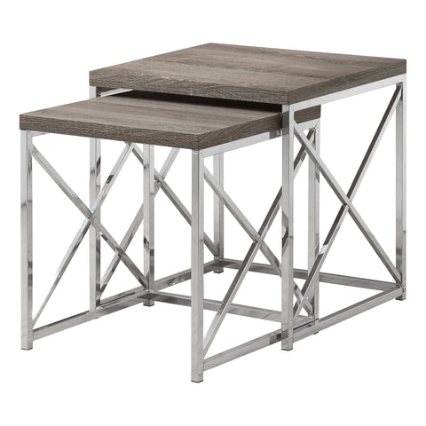 NESTING TABLE - 2PCS SET / DARK TAUPE WITH CHROME METAL   MN-3255