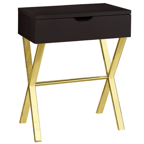 "ACCENT TABLE - 24""H / CAPPUCCINO / GOLD METAL  MN-3261"