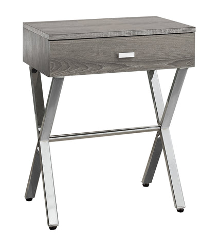 ACCENT TABLE - DARK TAUPE / CHROME METAL NIGHT STAND  I-3263
