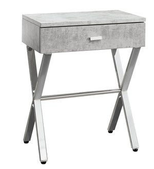 "ACCENT TABLE - 24""H / GREY CEMENT / CHROME METAL    MN-553264"
