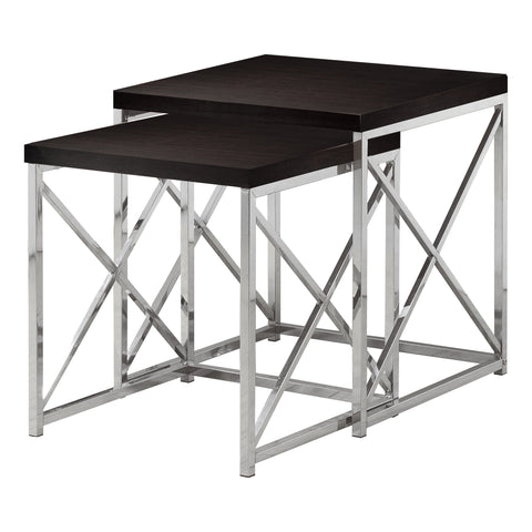 NESTING TABLE - 2PCS SET / CAPPUCCINO WITH CHROME METAL   I-3271