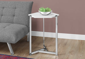 ACCENT TABLE - HEXAGON / GLOSSY WHITE / CHROME METAL   MN-343275