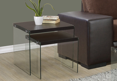 NESTING TABLE - 2PCS SET / CAPPUCCINO / TEMPERED GLASS    MN-3281