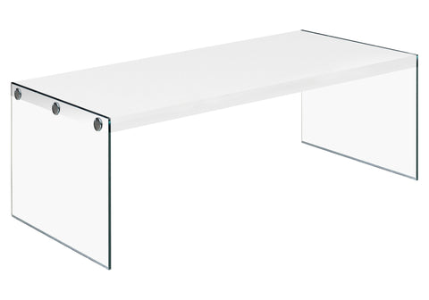 COFFEE TABLE - GLOSSY WHITE WITH TEMPERED GLASS   MN-3286
