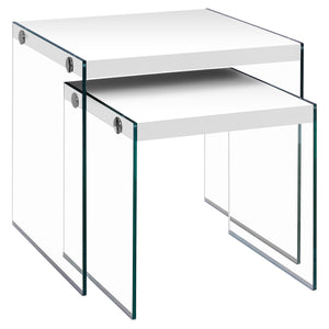 NESTING TABLE - 2PCS SET / GLOSSY WHITE / TEMPERED GLASS     MN-453287