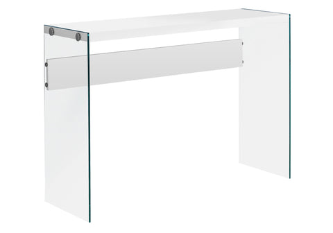 ACCENT TABLE - GLOSSY WHITE WITH TEMPERED GLASS  I-3288
