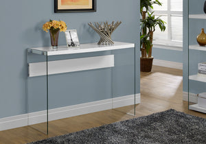 "ACCENT TABLE - 44""L / GLOSSY WHITE / TEMPERED GLASS    MN-3288"