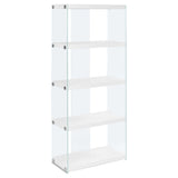 "BOOKCASE - 60""H / GLOSSY WHITE WITH TEMPERED GLASS   I-3289"