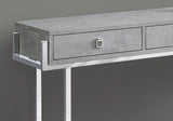 "ACCENT TABLE - 48""L / GREY CEMENT / CHROME METAL  MN-3298"