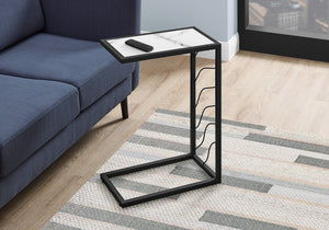 "ACCENT TABLE - 25""H / WHITE MARBLE-LOOK / BLACK METAL    MN-3300"