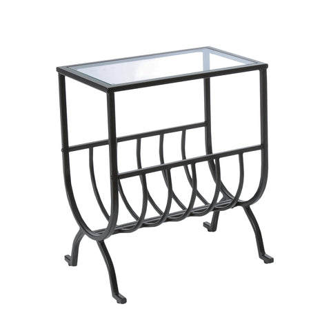 ACCENT TABLE - STARDUST BROWN METAL WITH TEMPERED GLASS  MN-3308