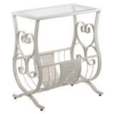 ACCENT TABLE - ANTIQUE WHITE METAL WITH TEMPERED GLASS  I-3312