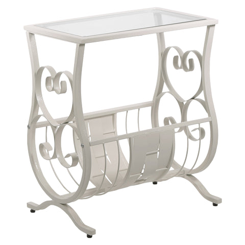 ACCENT TABLE - ANTIQUE WHITE METAL WITH TEMPERED GLASS  MN-3312