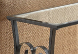 ACCENT TABLE - SATIN BLACK METAL WITH TEMPERED GLASS  MN-3314