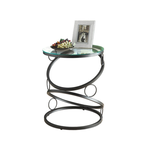 ACCENT TABLE - MATTE BLACK METAL WITH TEMPERED GLASS  I-3317
