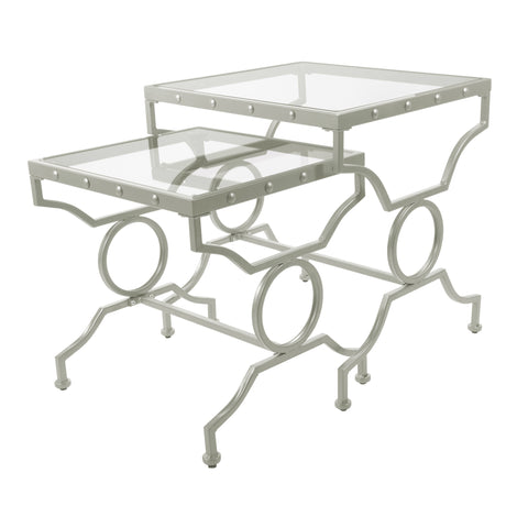 NESTING TABLE - 2PCS SET / SILVER WITH TEMPERED GLASS  I-3321