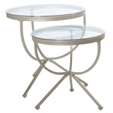 NESTING TABLE - 2PCS SET / SILVER WITH TEMPERED GLASS  MN-3322