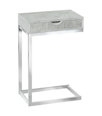 ACCENT TABLE - CHROME METAL / GREY CEMENT WITH A DRAWER  MN-3373
