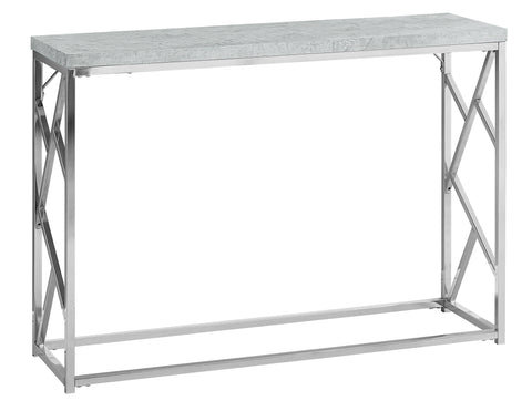 "ACCENT TABLE - 44""L / GREY CEMENT / CHROME METAL  MN-3377"