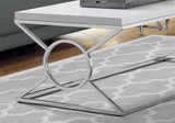 COFFEE TABLE - GLOSSY WHITE WITH CHROME METAL  MN-3400