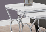 NESTING TABLE - 2PCS SET / GLOSSY WHITE / CHROME METAL  MN-3401
