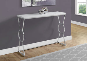 "ACCENT TABLE - 42""L / GLOSSY WHITE / CHROME METAL    MN-3402"