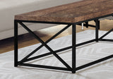 COFFEE TABLE - BROWN RECLAIMED WOOD-LOOK / BLACK METAL  MN-3416