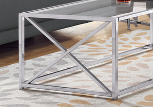 "COFFEE TABLE - 44""L / CHROME METAL WITH TEMPERED GLASS    MN-653440"