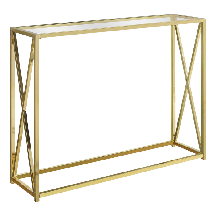 "ACCENT TABLE - 42""L / GOLD METAL WITH TEMPERED GLASS     MN-3446"
