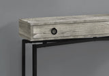 "ACCENT TABLE - 42""L / GREY RECLAIMED WOOD / BLACK CONSOLE  MN-3454"