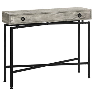 "ACCENT TABLE - 42""L / GREY RECLAIMED WOOD / BLACK CONSOLE    MN-543454"