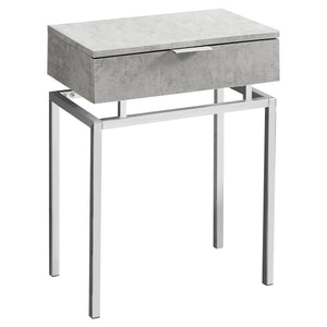 "ACCENT TABLE - 24""H / GREY CEMENT / CHROME METAL     MN-3461"