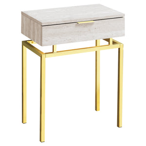 "ACCENT TABLE - 24""H / BEIGE MARBLE / GOLD METAL     MN-873463"