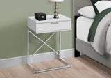 "ACCENT TABLE - 24""H / GLOSSY WHITE / CHROME METAL   MN-3470"