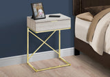 "ACCENT TABLE - 24""H / BEIGE MARBLE / GOLD METAL   MN-3473"