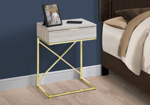 "ACCENT TABLE - 24""H / BEIGE MARBLE / GOLD METAL     MN-333473"
