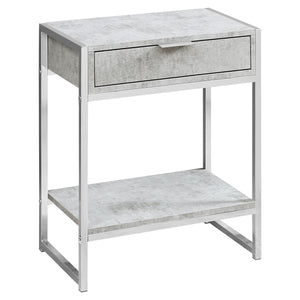 "ACCENT TABLE - 24""H / GREY CEMENT / CHROME METAL     MN-483481"