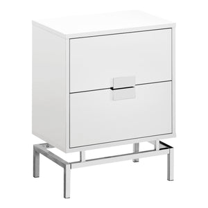 "ACCENT TABLE - 24""H / GLOSSY WHITE / CHROME METAL    MN-3490"
