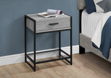 "ACCENT TABLE - 22""H / GREY / BLACK METAL / TEMPERED GLASS  MN-3500"