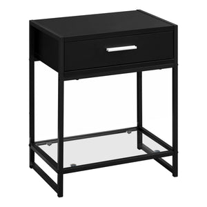 "ACCENT TABLE - 22""H / BLACK / BLACK METAL/ TEMPERED GLASS    MN-3502"