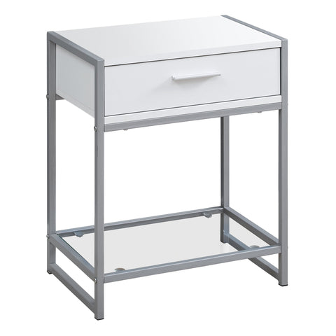 "ACCENT TABLE - 22""H / WHITE/ SILVER METAL/ TEMPERED GLASS  MN-3503"