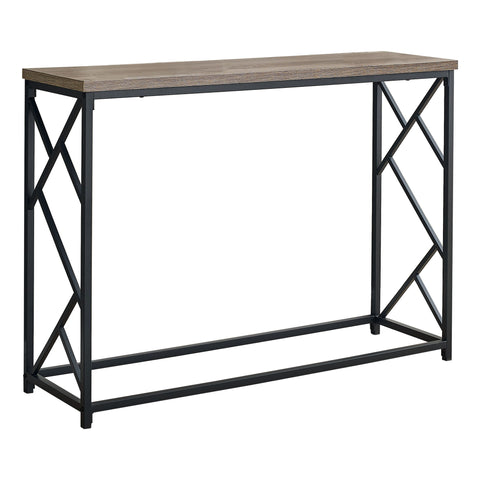 "ACCENT TABLE - 44""L / TAUPE / BLACK METAL HALL CONSOLE  MN-3533"