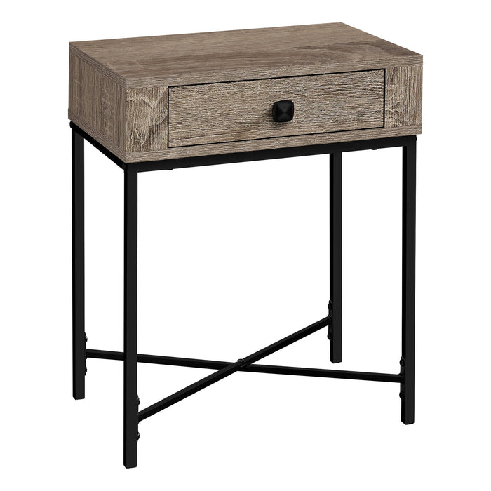 "ACCENT TABLE - 22""H / DARK TAUPE / BLACK METAL    MN-3544"