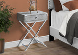 "ACCENT TABLE - 24""H / GREY CEMENT / CHROME METAL  MN-3551"