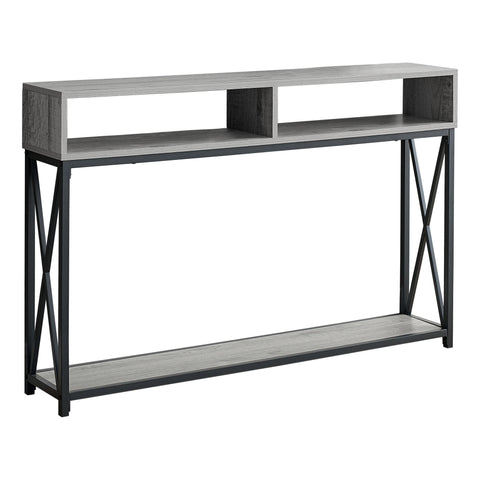 "ACCENT TABLE - 48""L / GREY / BLACK METAL HALL CONSOLE  MN-3572"