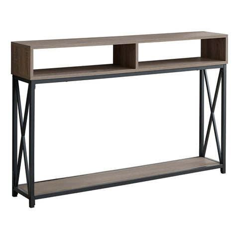 "ACCENT TABLE - 48""L / TAUPE / BLACK METAL HALL CONSOLE  MN-3573"