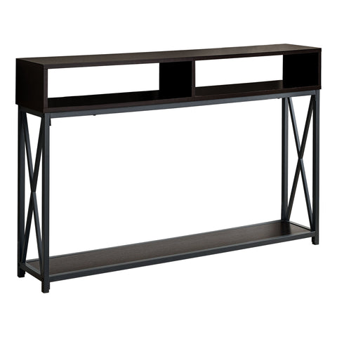 "ACCENT TABLE - 48""L / ESPRESSO / BLACK METAL HALL CONSOLE  MN-3574"