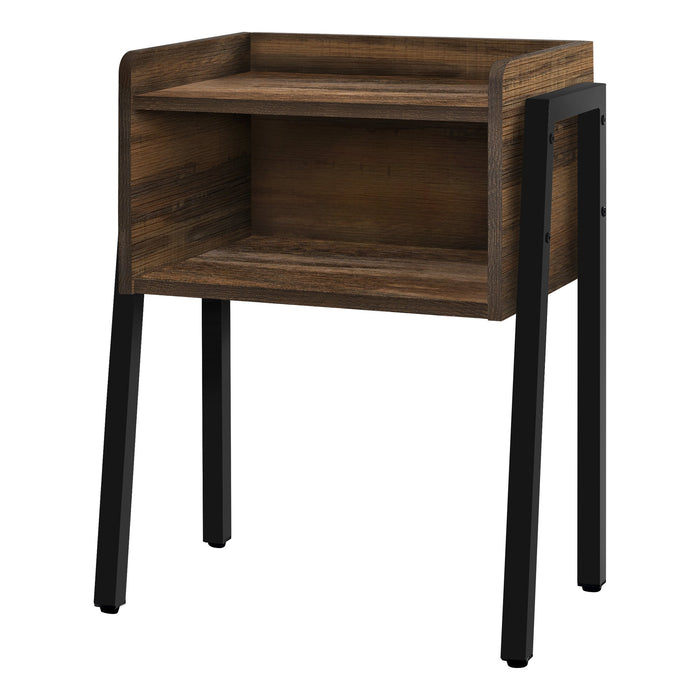 "ACCENT TABLE - 23""H / BROWN RECLAIMED-LOOK / BLACK METAL    MN-3583"