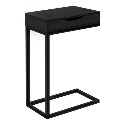 ACCENT TABLE - BLACK / BLACK METAL WITH A DRAWER  MN-3600